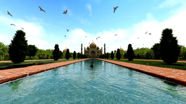 bird flying over Taj Mahal