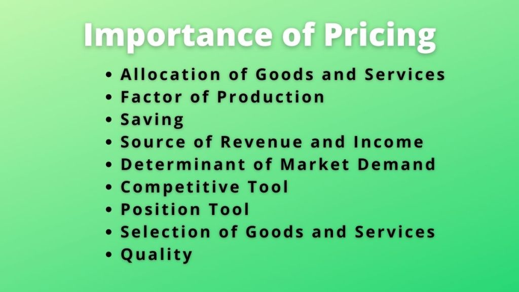 importance of pricing