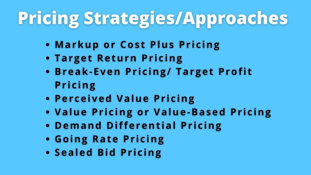 pricing strategies and approaches