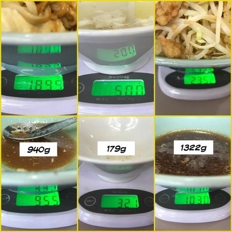 立川マシマシ足利店焼肉重ごはんを麺に変更もやしサラダ二つ分豚マシ計量