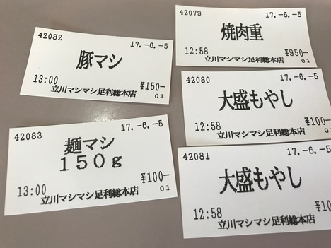 立川マシマシ足利店焼肉重ごはんを麺と豆腐に変更と大盛りもやし食券