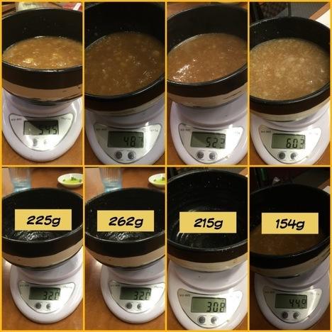 西大島家系ラーメン春樹つけ麺つけ汁計量