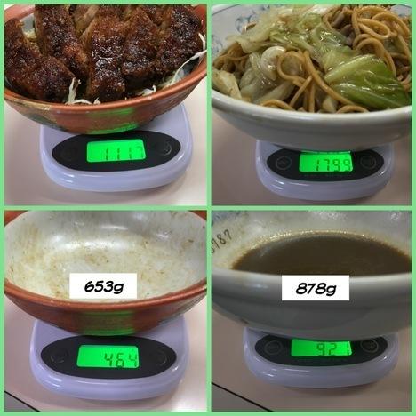 伊那市田村食堂ご当地グルメローメンとソースかつ丼計量