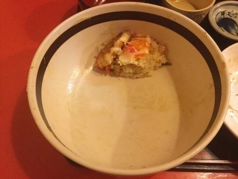 いわき中華のんきミニのっけ丼完食手前