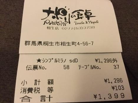 iナポリの食卓桐生店会計レシート