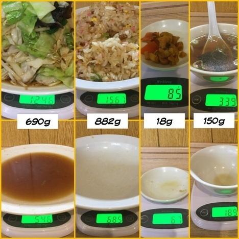 東松山西華野菜炒めとチャーハン大盛り計量
