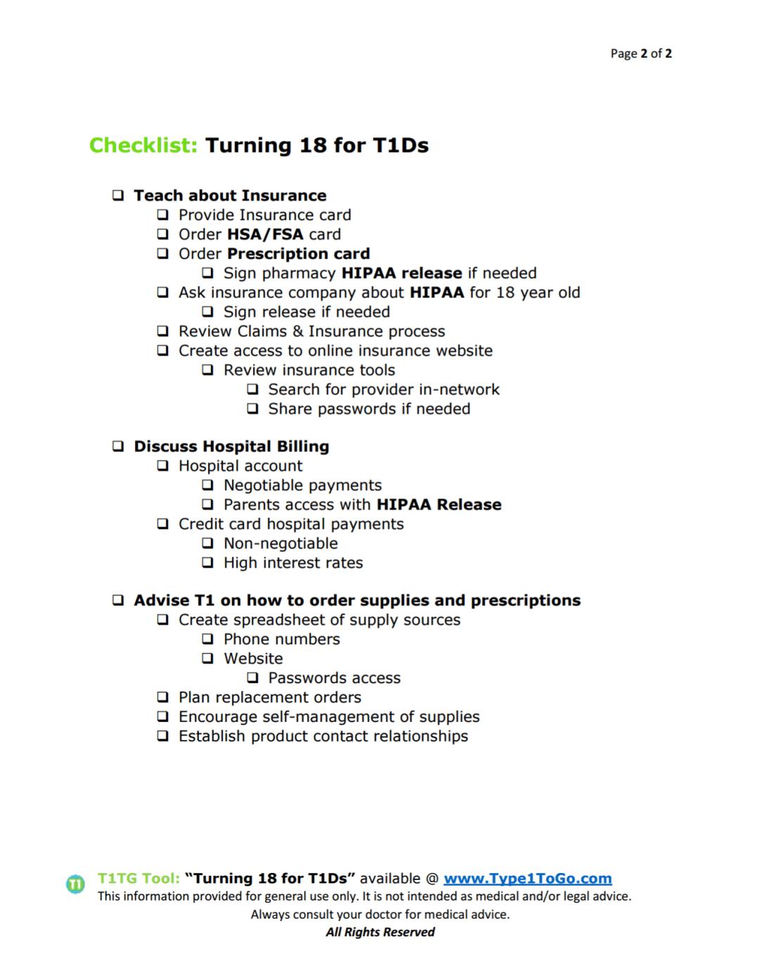 Turning 18 Checklist for Type 1 Diabetics