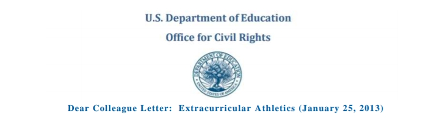 Department of Education Dear Colleague Letter Extracurricular Athletics