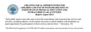 DOE Report August 2011 Opportunitites for Students with Disabilities Extracurricular Activities