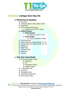 Sick Day List for Type 1 Diabetic