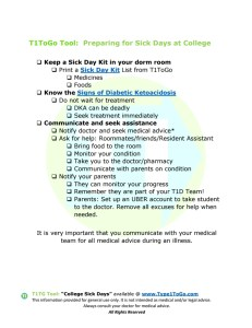 College Sick Day Plan for Type 1 Diabetes
