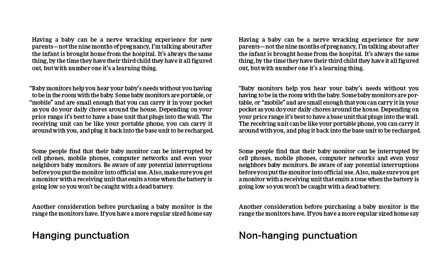 Hanging punctuation