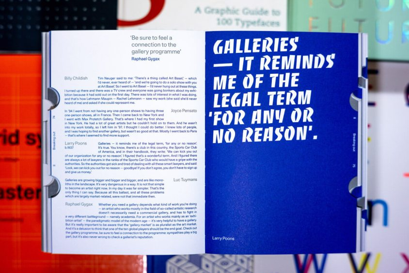 Spread featuring a quote by Larry Poons.
