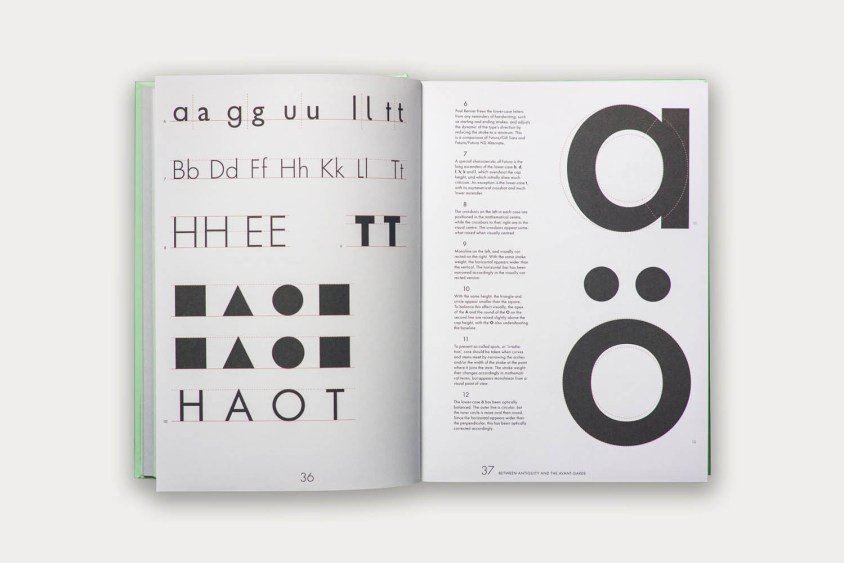Showing the differences between purely geometric shapes and Futura's forms.