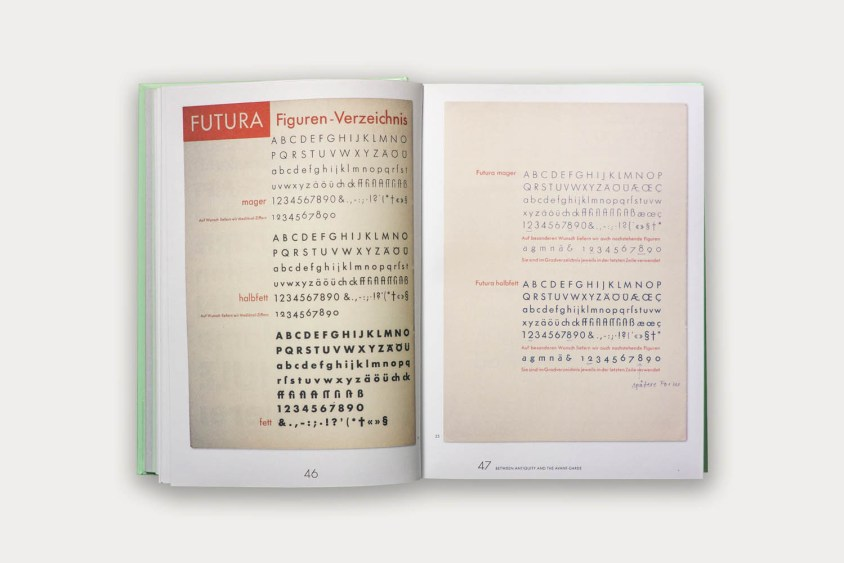 Pages from Futura specimens.