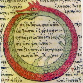 """""""This image of perpetual motion is one of alchemy's oldest emblems; it is both self-devouring and self-fertilizing to guard and gestate the treasure hard to attain, the Self"""""""
