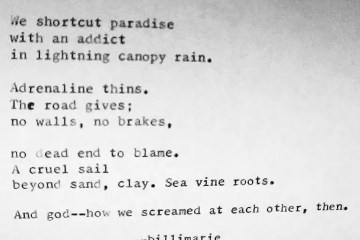 """Couple #4"" by Billimarie Lubiano Robinson - ""We shortcut paradise / with an addict / in lightning canopy rain. // Adrenaline thins. / The road gives; / no walls, no brakes, // no dead end to blame. / A cruel sail / beyond sand, clay. Sea vine roots. // And god--how we screamed at each other, then."""