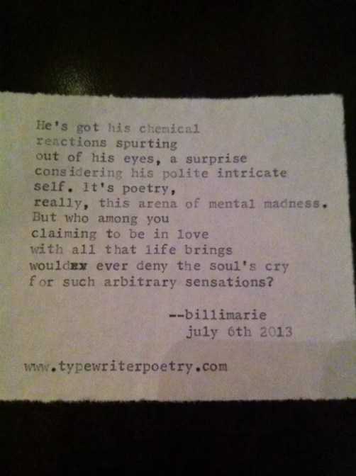 """Love Lust"" by billimarie typewriter poetry"