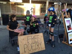 Typewriter Poetry at the Canoga Park Art Walk 2014 - Free Poetry - Billimarie Lubiano Robinson - San Fernando Valley Roller Derby