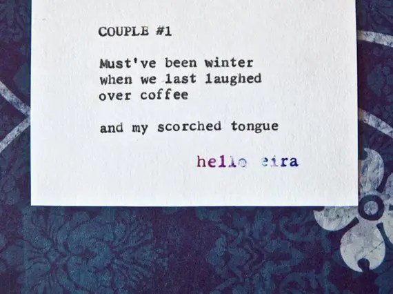 "Etsy Typewriter Poetry Poem ""Couple #1."" Close up against midnight blue and white baroque card stock."