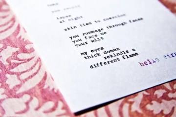 "Etsy Typewriter Poetry Typewritten Poem by billimarie ""Take."" Dutch angle against floral pink card stock. Watermark: hello eira."