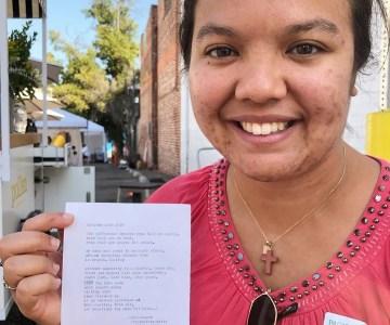 Poetry Portrait of Rebekah at the Pasadena Art Walk - Typewriter Poetry, October 2019
