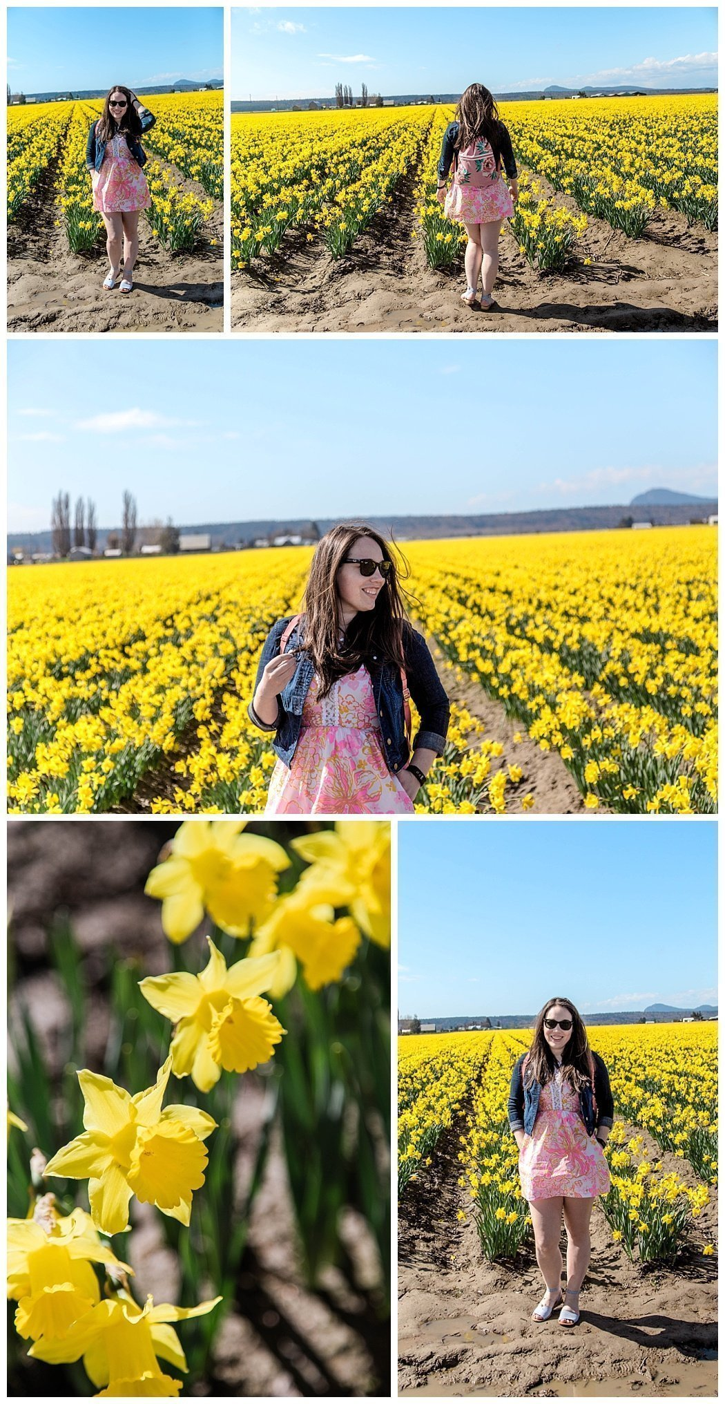 daffodils and brunette woman wearing spring dress