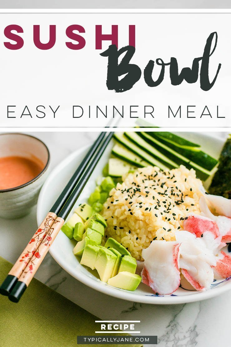 sushi bowl recipe, easy weeknight meal, Japanese American cuisine, crab, avocado, rice, spicy mayo, dinner recipe