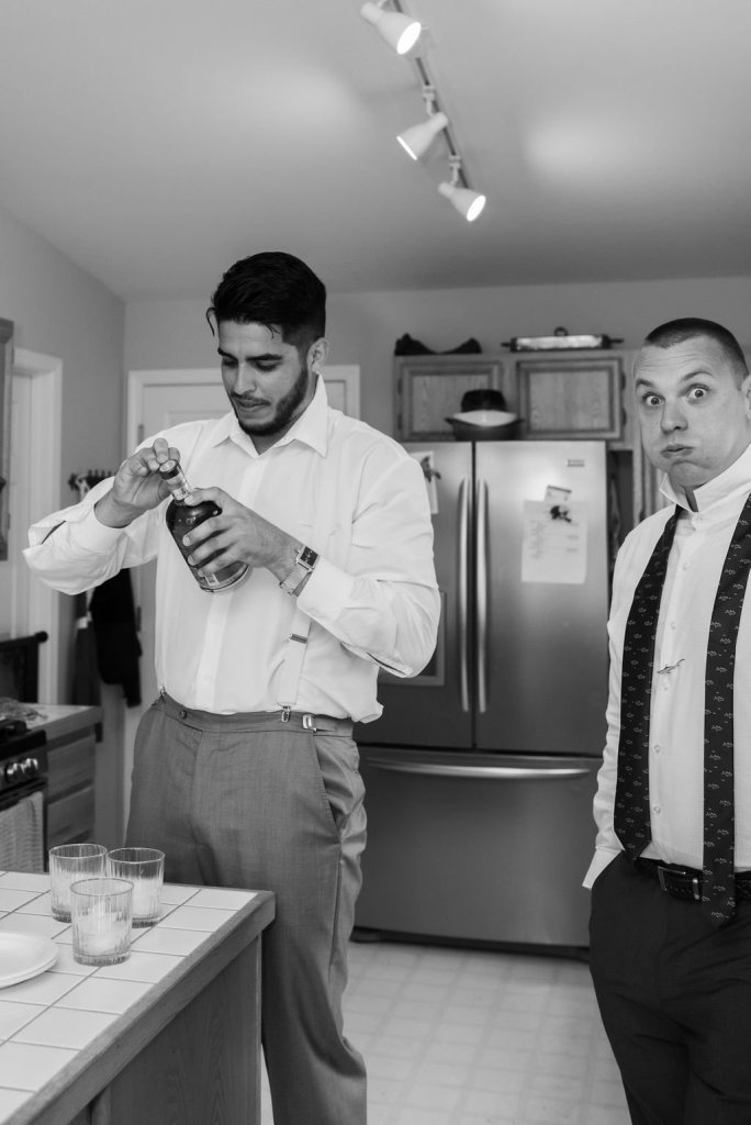 groom and groomsmen getting ready, shots before wedding