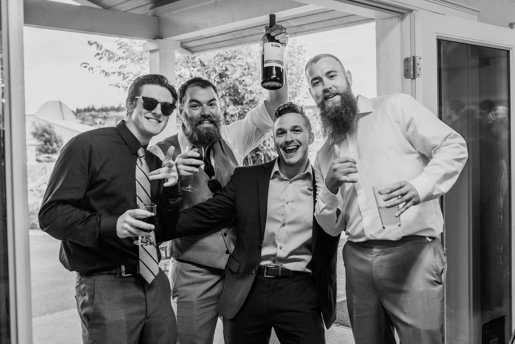 wedding party guests having fun