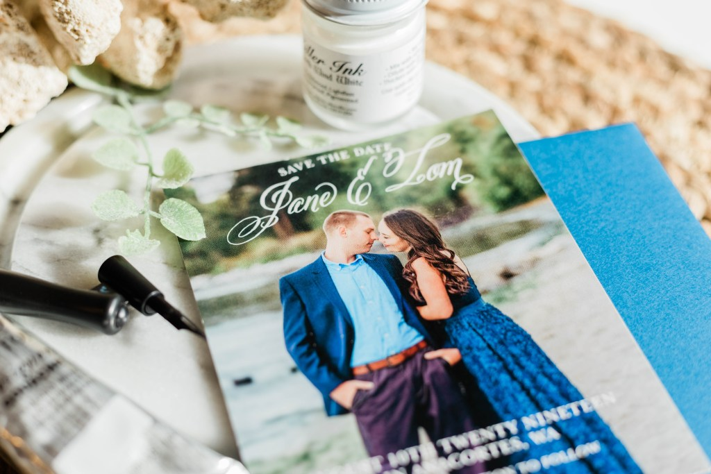 save the date ideas, classic save the date, navy wedding, Pacific Northwest wedding