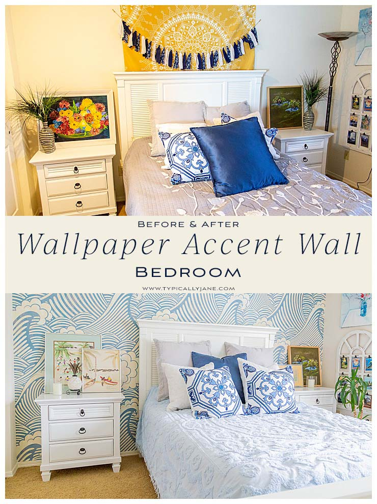 before & after bedroom reveal wallpaper accent wall bedroom