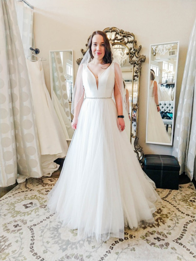 V neck, a line wedding dress, I Do Bridal Seattle Review