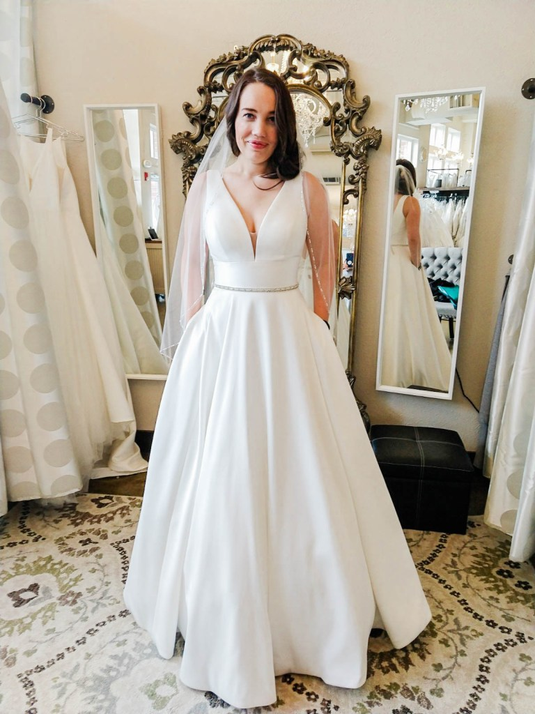 v neck a line wedding dress, I Do Bridal Seattle Review