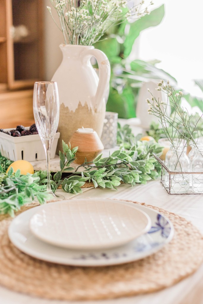 Spring Tablescape decorations natural Tablescape seagrass woven placemats blue and white china