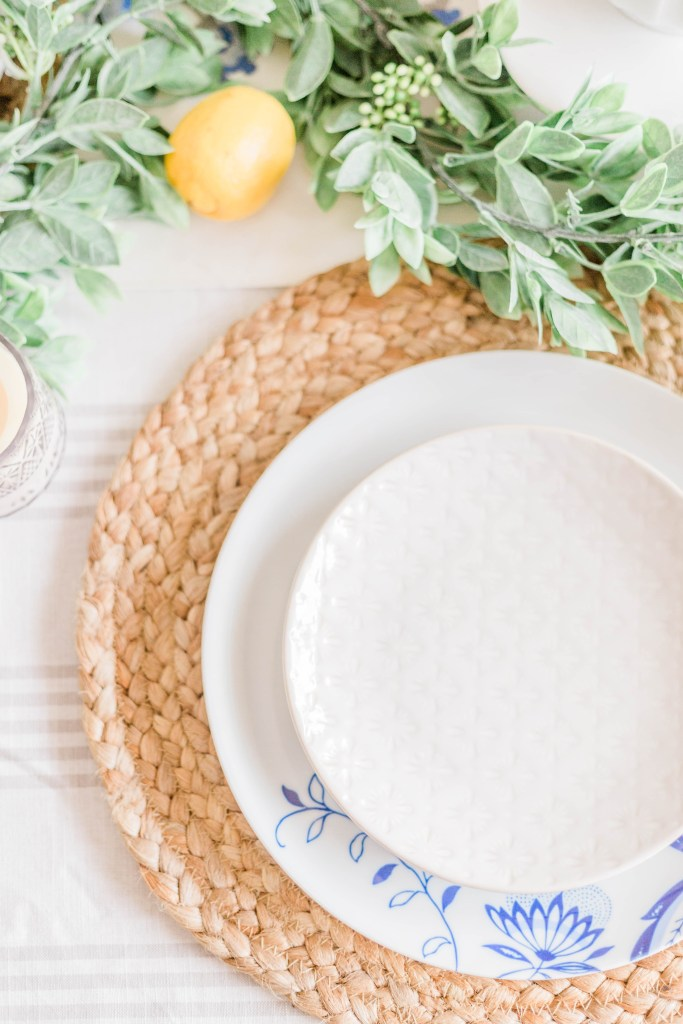 natural Tablescape seagrass woven placemats blue and white china