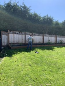 before and after black fence stain on wood fence