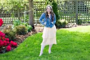 denim jacket with a dress outfit for spring and summer