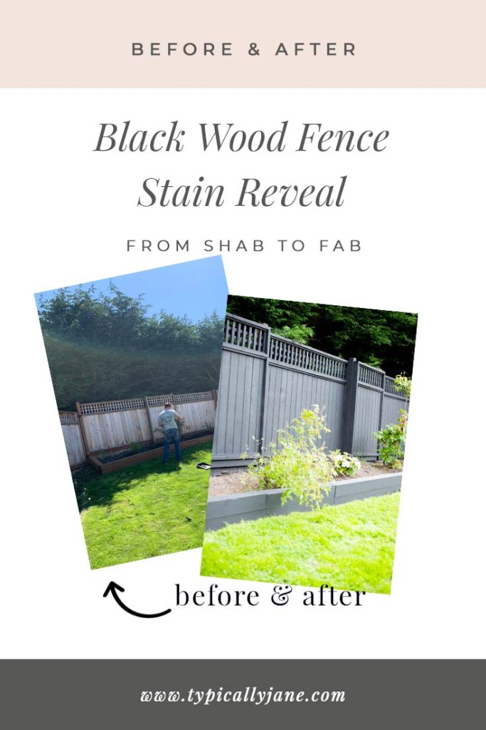 black wood fence stain before and after on cedar wood fence for a modern fence design and look from classic to traditional, coastal to farmhouse.