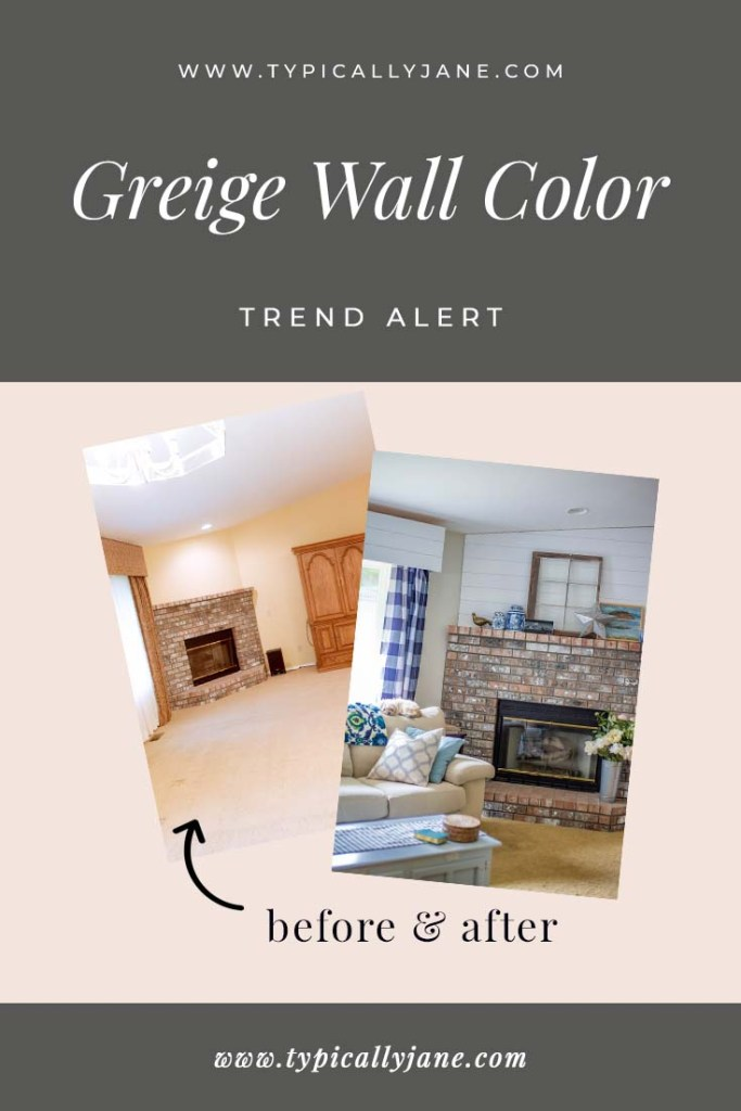 greige wall color before and after modern living and dining room interior paint color