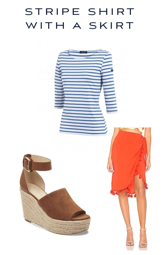 stripe shirt with a skirt outfit