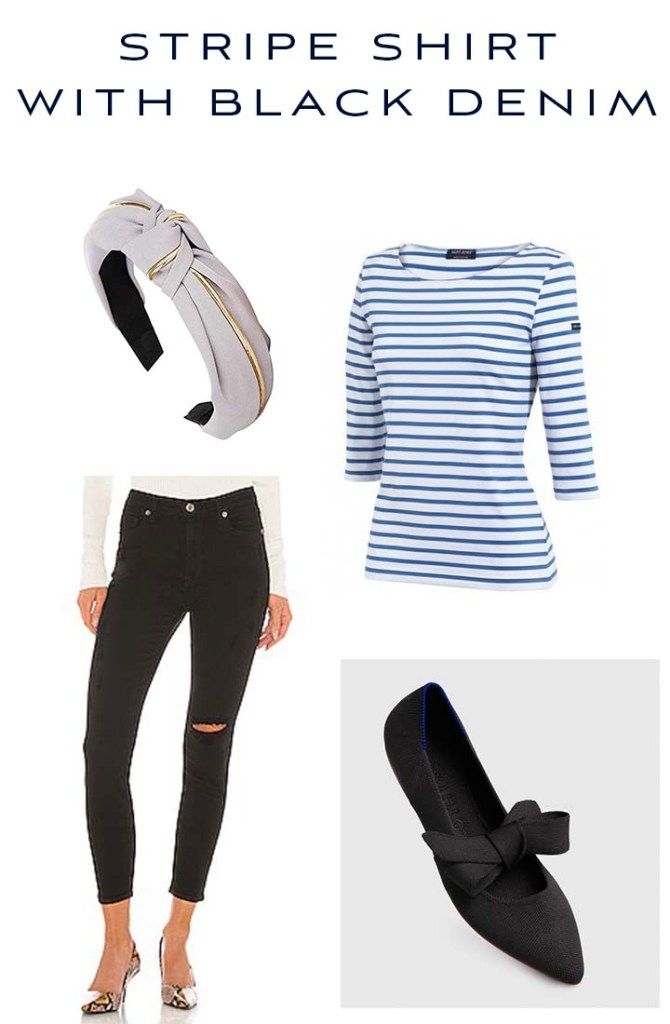 stripe shirt with black denim outfit