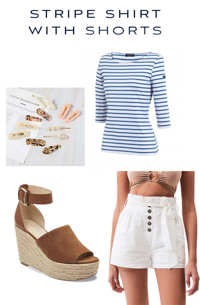 stripe shirt with shorts outfit