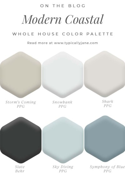 modern coastal home design whole house color palette