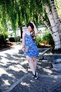 woman wearing slip dress outfit