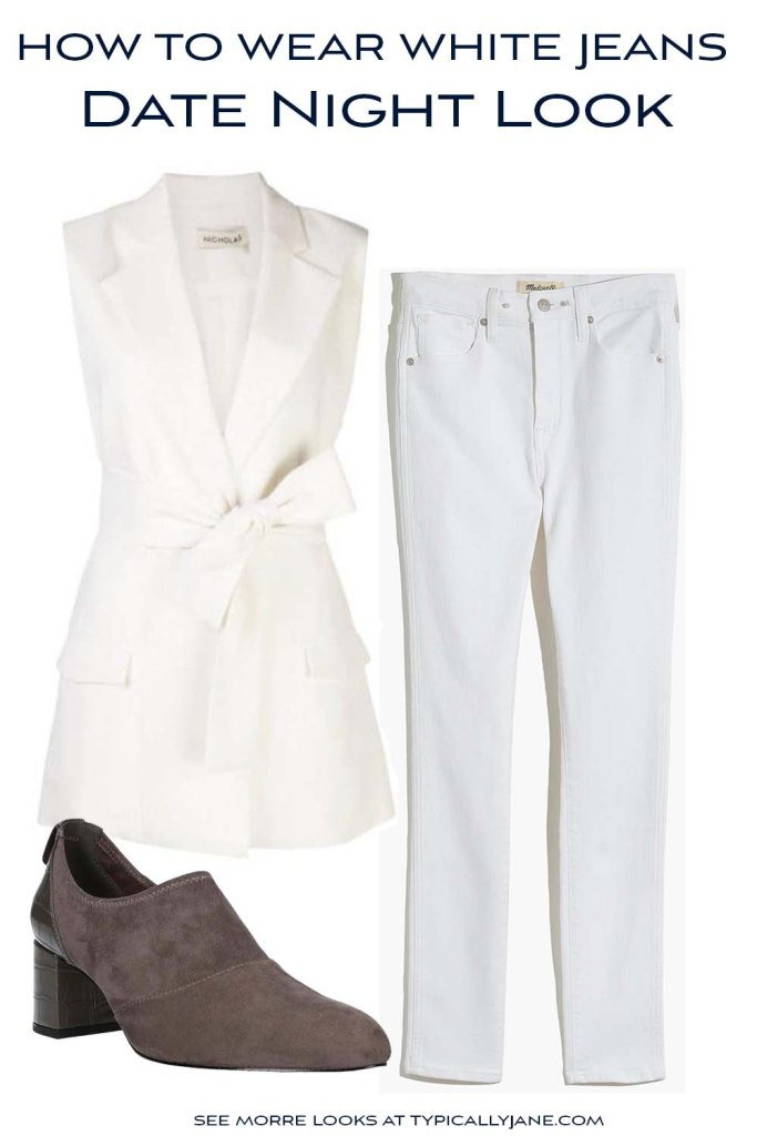 Flatlay outfit with white jeans and white vest