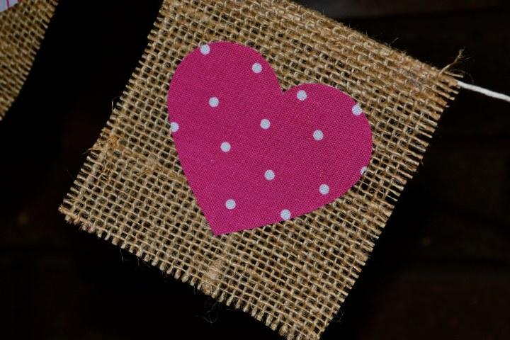 Fabric Heart on Burlap