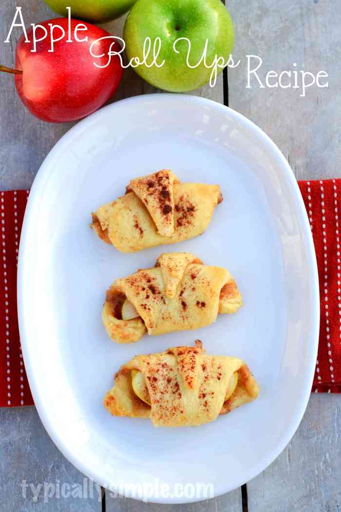 Just a few simple ingredients are needed to make these delicious apple roll ups!