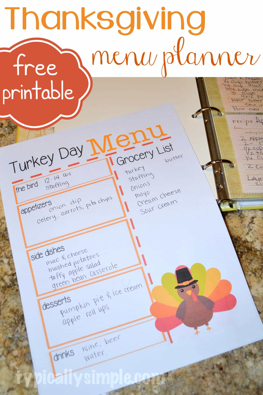 Turkey Day Menu Planner