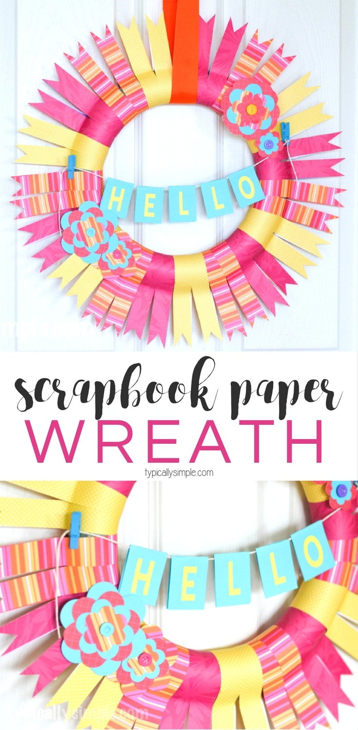 This scrapbook paper wreath is perfect for a Mom's Night Out - Pinterest Party craft project! With just a few supplies, make a fun wreath to hang in your home!